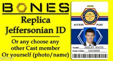 Bones Replica Jeffersonian Cosplay ID Card Seeley Booth - Or customise own photo