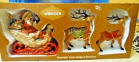Woodland Wonder Porcelain Santa Sliegh & Reindeer IOB