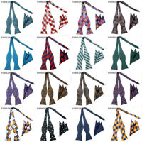 36 Colors Man's Self Tied Bow Tie silk Hanky Bowtie Set Wedding Tuxedo Ties