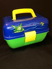 Cyclone Fishing Outdoor Youth-Kid's Play Tackle Box Removable Tray Blue Green