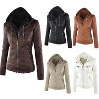 Women Faux Leather Jacket Cropped Biker Jacket Lady Outwear Plus Size 6-20 New
