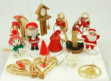 Vintage Red Gold Straw Santa Christmas Ornament Holiday Tree Decoration Lot
