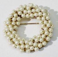 """broche bijou vintage rosace couleur or perles imitation signée """"hobé"""" *3405"""