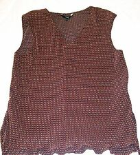 Next Geometric Pleat Top rust brown sleeveless textured blouse Size 16 vgc