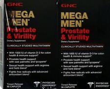 2 BOXES GNC MEGA MEN PROSTATE AND VIRILITY DIETARY 90 CT TOTAL 180 EXP:03/2022