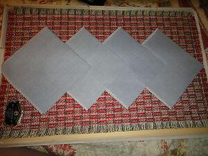 Set of 4 Vintage cloth Placemats w/ napkins Mid century A PROGRESS CREATION