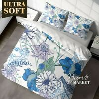 Dragonfly Blossoms Floral Patterns Blue Duvet Cover Single Bed Double Queen King