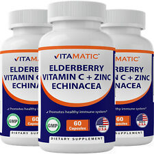 3 Pk - Elderberry Sambucus Nigra - Zinc - Vitamin C - Echinacea Extract - 60 Ct