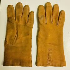Vintage 60's Women's Soft Brown Stitched Sheepskin Suede Gloves - Czechoslovakia