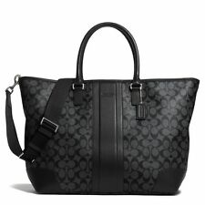 Coach Charcoal Black Heritage Signature Weekend Tote Crossbody Bag F71130 $548