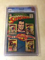 Superman #100 CGC 3.0 KEY ISSUE 1955 CLASSIC COMIC COVER KRYPTON sub teacher