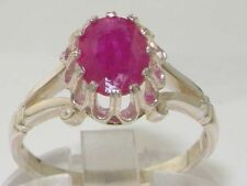 Solitaire Natural Ruby Sterling Silver Fine Rings