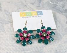 Orecchini fiore Designer BOHM Oro/Teal Verde Rosa Vintage 1960 S 1950 S nuovo con etichetta