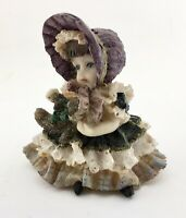 "3 1/2"" Tall Resin Little Girl in Dress and Bonnet Figurine Holding Teddy Bear"