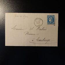 CÉRÈS N°46B PERCÉ EN LIGNE LETTRE COVER GC 774 + CAD T.16 LE CATEAU PR MAUBEUGE