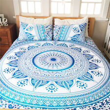 Indian Blue Ombre Mandala Duvet Cover Queen Quilt Cover Hippie Throw Doona Cover