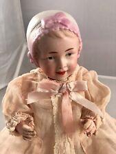 "9"" Antique German Bisque Head Bonnet Recknagel Baby Doll! Rare! Beautiful! 18090"