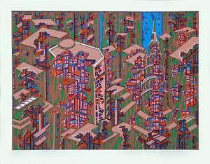CITY #366 Architecture Translated to Beautiful Art; Serigraph By Risaburo Kimura