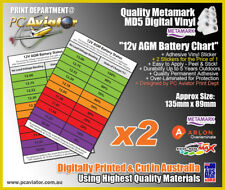 12v AGM Battery SOC Charge Chart Sticker x2 - Car, Caravan, Solar, Boat, Truck