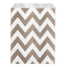 Paper Sweet Bags x25 - Grey Chevron Pattern Wedding White Craft Retro Vintage