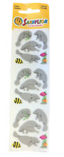 Vintage Sandylion Fuzzy Stickers Manatee With Fish 1 Sheet 18 Stickers Nip