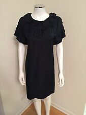 Marc Jacobs Black Ruffle Short Sleeve Dress With Scoop Neck Size 6