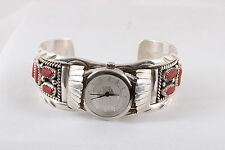 MC KOKOPELLI STERLING SILVER RED TURQUOISE CUFF BRACELET WRISTWATCH  7148
