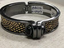 KARA ROSS Designer Signed Bangle Bracelet black onyx snake shirt Cuff $235