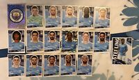 TOPPS UEFA CHAMPIONS LEAGUE 2020/21 TEAM SET OF ALL 18 MANCHESTER CITY STICKERS