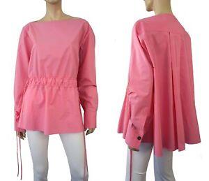 MARNI Oversize Pink Cotton Poplin Boat Neck Drawstring Top 44 US 10 BRAND NEW