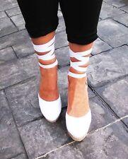 PLATFORM Wedge Lace Up Espadrilles Women Organic Cotton Shoes