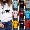 Women Ladies Short Sleeve T Shirt Tops Blouse Heart Printed Casual Summer Tee