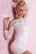 Sexy GOGO Fashion Dress with Lace Sleeves- White- One Size
