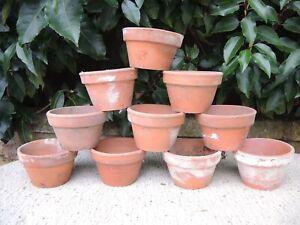 """10  Vintage Terracotta Pans Plant Pots  3.5""""  (13E)"""