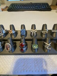 LOT OF 13 SILVER TONE SPARKLE CRYSTAL FASHION RINGS, VINTAGE-NOW