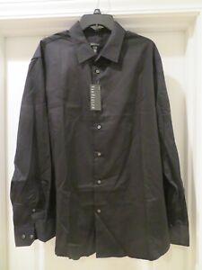 NWT NEW Van Heusen LS Dress Shirt XL 17- 17 1/2 Black Pin Stripe  Pinstripe $50