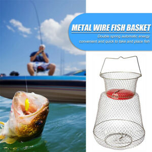 Floatable Galvanized Steel Wire Fish Basket Fishing Net Fishing Accessories~