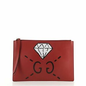 Gucci Zipped Pouch GucciGhost Leather Large