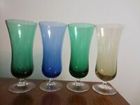 4 VINTAGE COLOR CORDIAL LIQUOR GLASSES 6 OUNCES