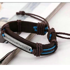 DIY Men Cuff Surfer Tribal Hemp braided Wrap Wrist Faux Leather Bracelet ^