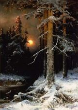 Julius Klever Wintry woodland landscape with full moon Oil Painting repro