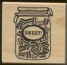SWEET! HARD CANDY JAR Desk Treat Canning Glass Fun Card Words Wood  RUBBER STAMP