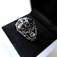 Mens Silver Black Diamond Skull Ring