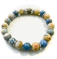 Lace Agate Crown Bracelet. Blue Coral & Crazy