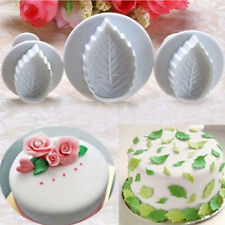 3Pcs Rose Leaves Shape Cookies Fondant Cake Pastry Biscuit Cutter Plunger Mould