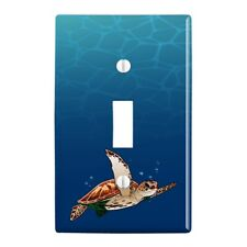 Sea Turtle Swimming in Ocean Plastic Wall Decor Toggle Light Switch Plate Cover