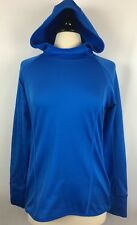 ATHLETA WOMEN'S SIZE MEDIUM MACAW BLUE PLUSH TECH RUNNING HOODIE STRETCH YOGA