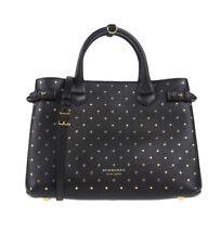 Burberry Medium Banner Black With Studs Handbag Purse women leather