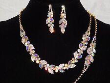 3PC Gold W. AB Iridescent Rhinestone Crystal Necklace, Earrings & Bracelet Set