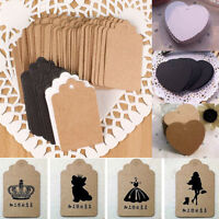 100Pcs Kraft Paper Hang Tags Wedding Birthday Party Blank Label Price Gift Cards